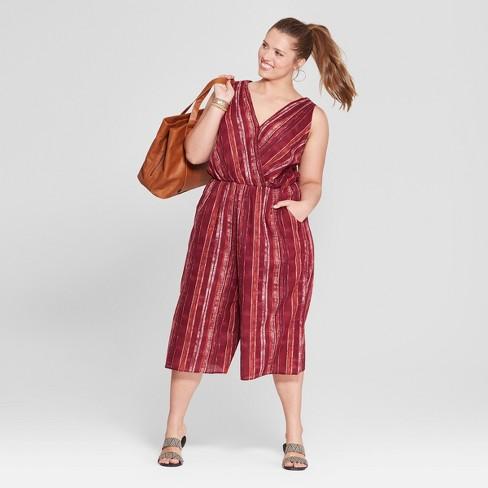 1702279e1877 Women s Plus Size Striped Jumpsuit - Universal Thread™ Burgundy   Target