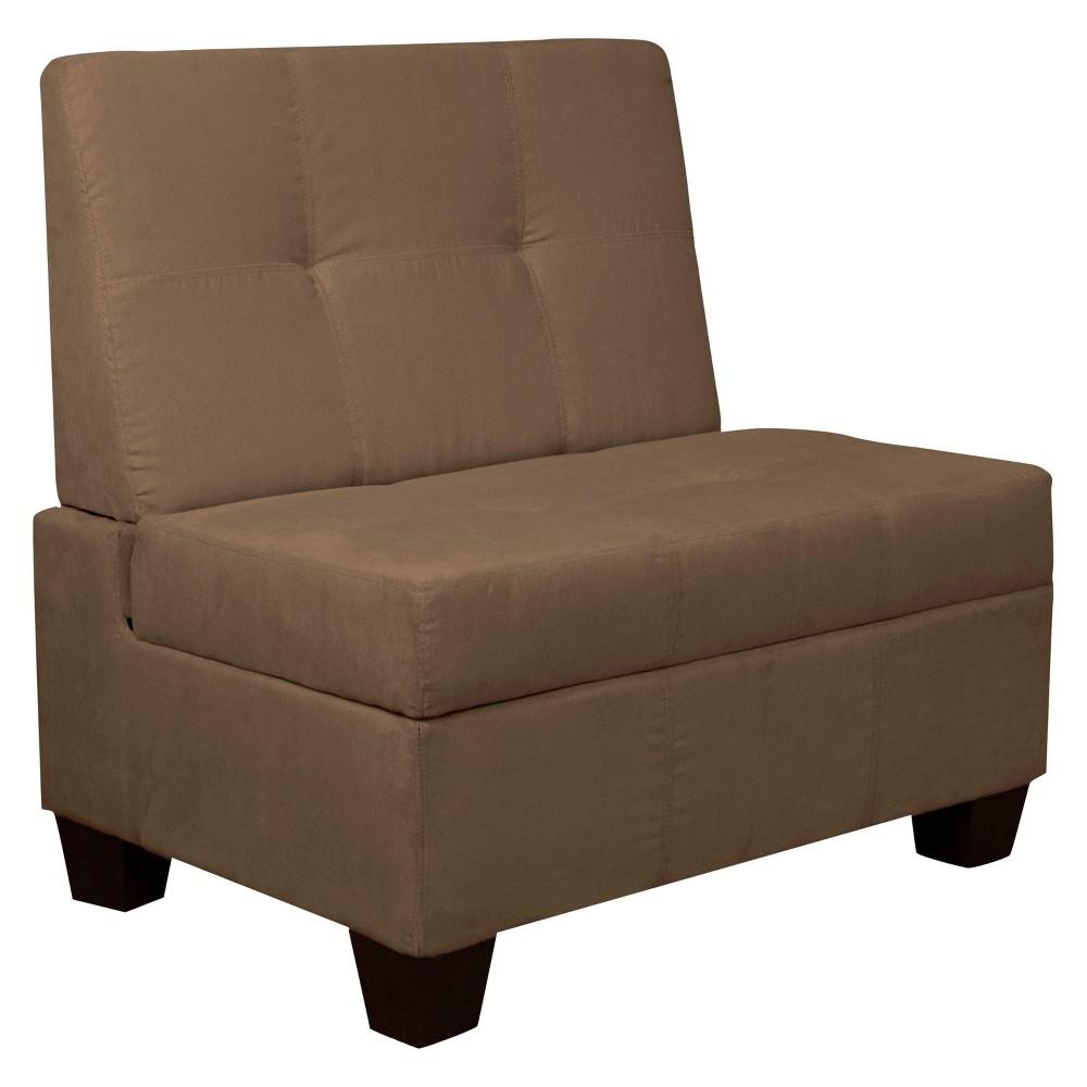 Valet Tufted Padded Hinged Storage Chair Leather Look Saddle 24 Wide - Pecan - Sit N Sleep