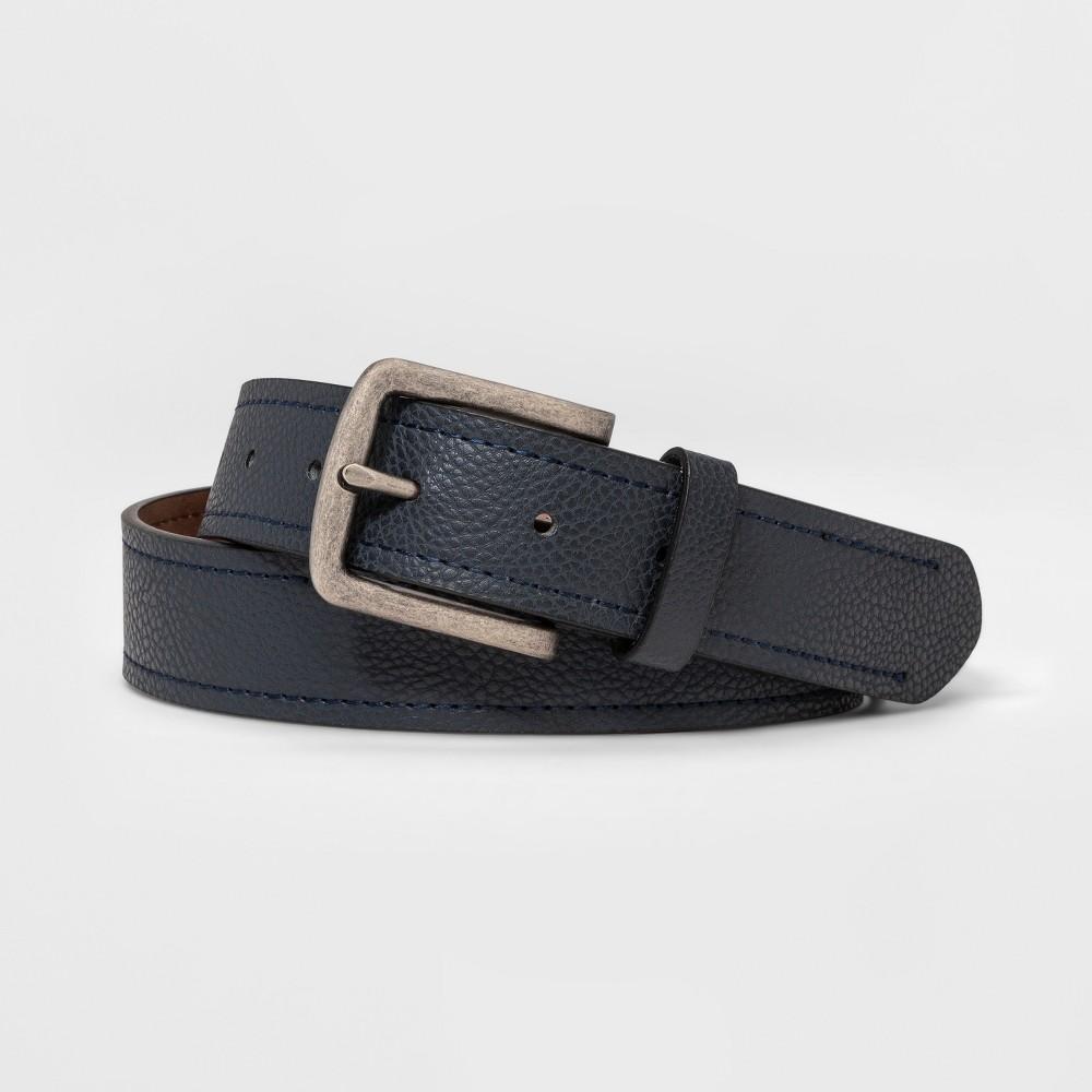 Image of Men's 35mm Harness Border Stitch Belt - Goodfellow & Co Navy M, Men's, Size: Medium, Blue