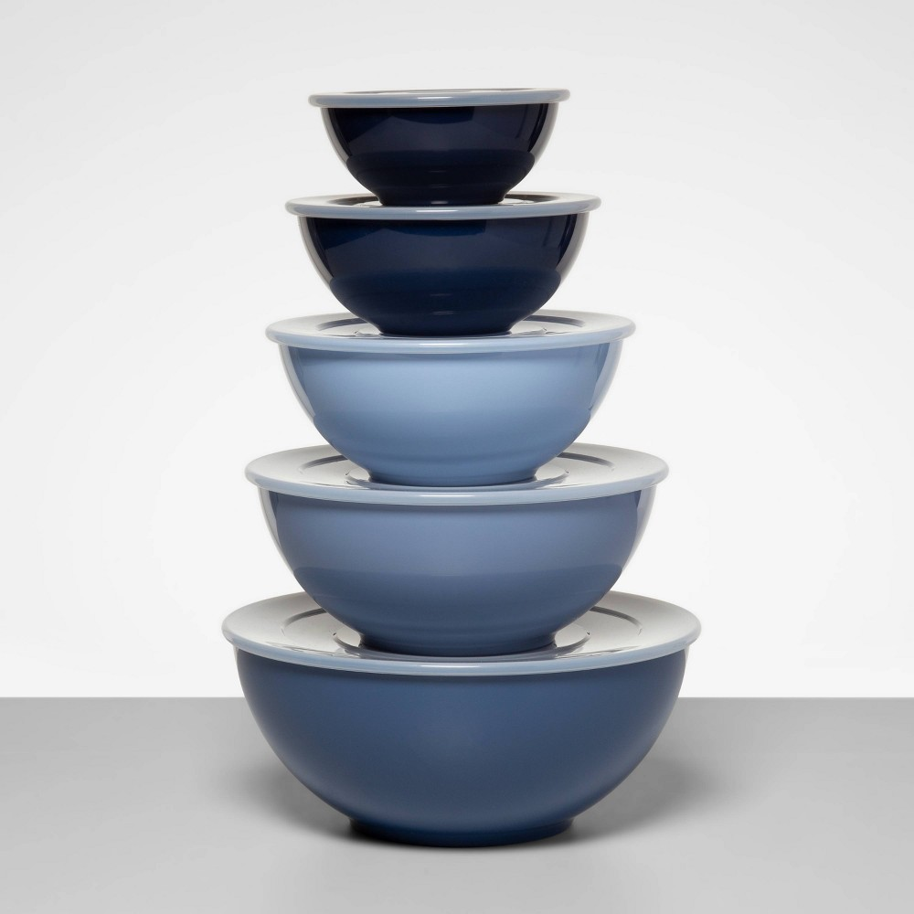 Image of 5pc Plastic Mixing Bowl Set with Lids Blue - Made By Design