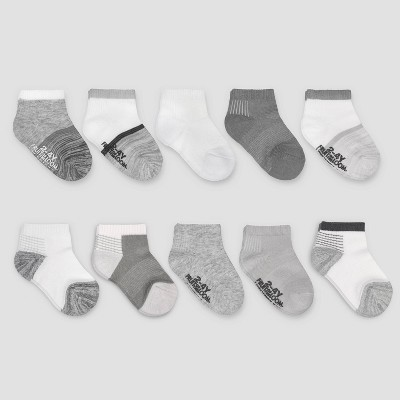 Fruit of the Loom Baby 10pk Beyondsoft Grow and Fit Ankle Socks - Gray/White 6-12M
