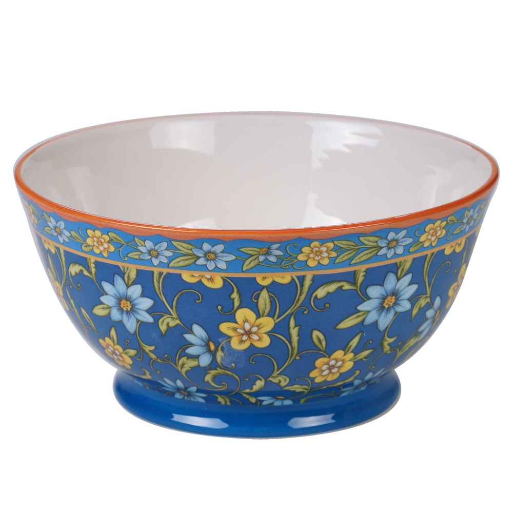 Image of 112oz Earthenware Torino Serving Bowl Blue - Certified International, Yellow Blue