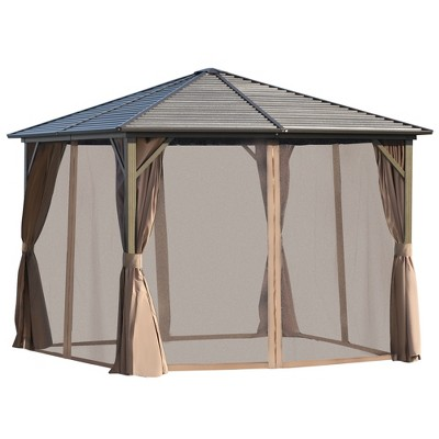 Outsunny 10' x 10' Aluminum Frame Hardtop Patio Gazebo with Mesh Netting and Privacy Curtains