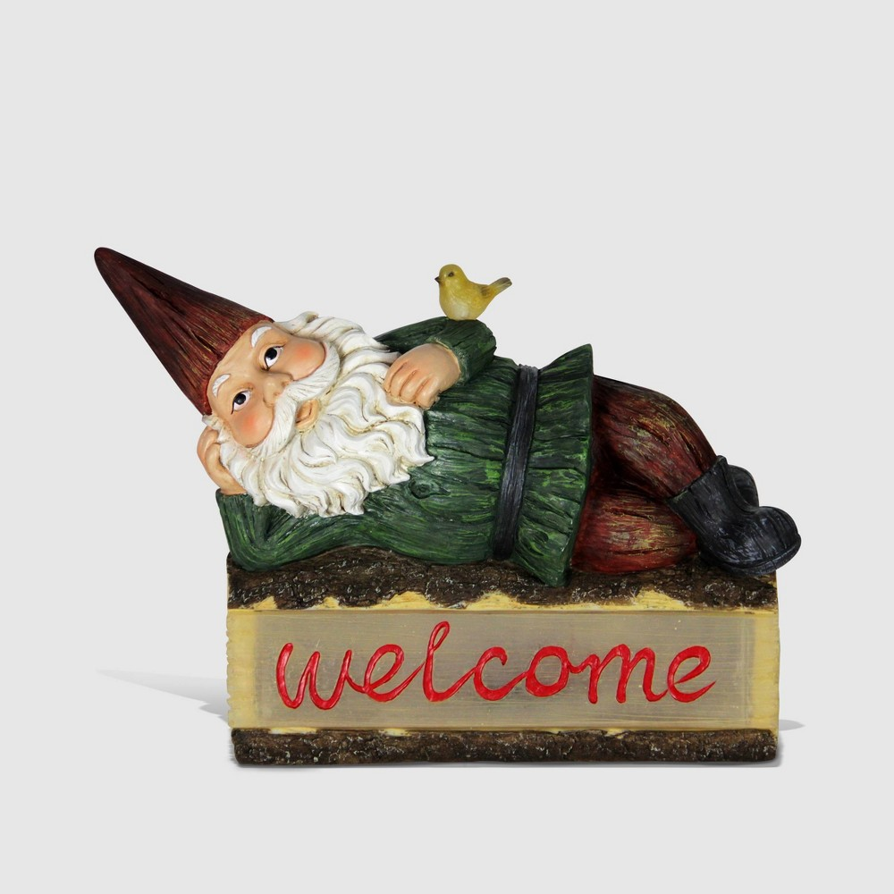 14 Solar Gnome On Welcome Log Resin Statue Green - Exhart