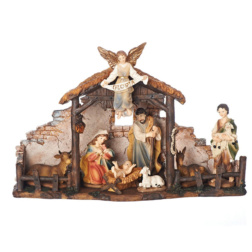 6pc Nativity Set with Stable - Roman, Multi-Colored