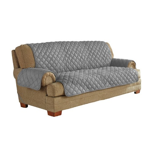 Ultimate Waterproof Furniture Protector With Neverwet Sofa Slipcover Gray Serta