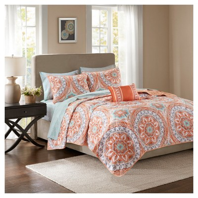 Coral Nepal Printed Quilt Set (Full)8pc