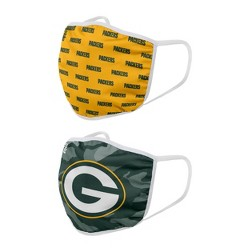 NFL Green Bay Packers Adult Face Covering 2pk
