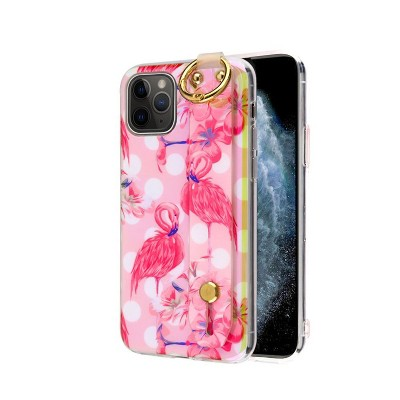 MYBAT Dreamy Hybrid w/Wristband Stand Flamingos Hard Dual Layer Plastic Cover Case For Apple iPhone - Pink