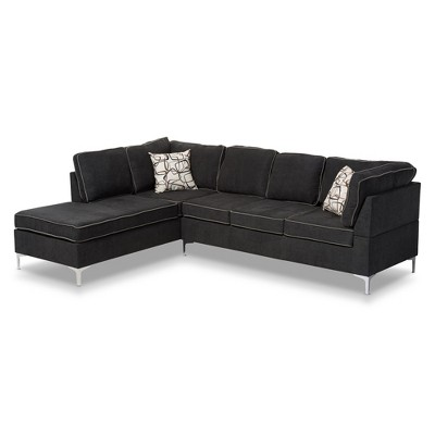 Richie Modern And Contemporary Two Tone 2pc Sofa Sectional Dark Gray    Baxton Studio