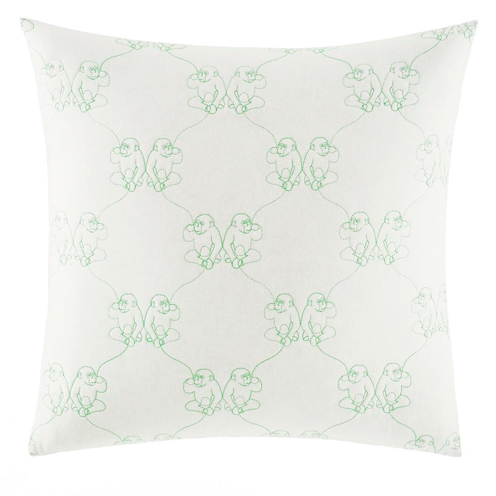 Image of White Monkeys Throw Pillow - Nine Palms