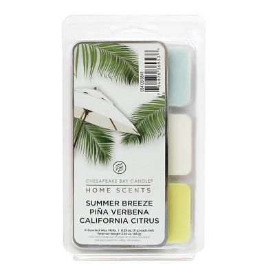 6pk Wax Melts Summer Breeze/Piña Verbena/California Citrus - Home Scents by Chesapeake Bay Candle