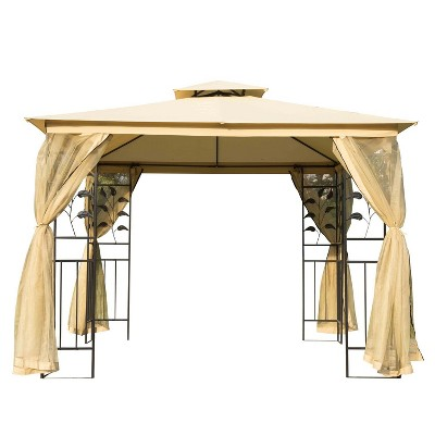 Outsunny 10' x 10' Outdoor Patio Gazebo Canopy with 2-Tier Polyester Roof, Mesh Curtain Sidewalls, and Steel Frame