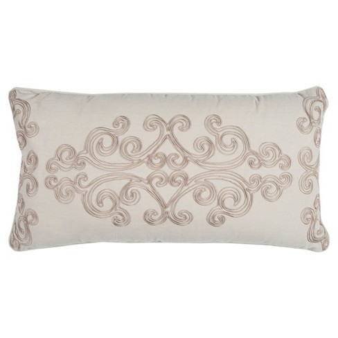 "Taupe Floral Cotton Throw Pillow (14""x26"") - Rizzy Home - image 1 of 2"