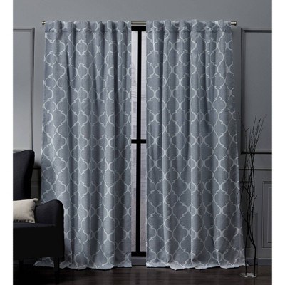 Treillage Back Tab Blackout Window Curtain Panels - Exclusive Home