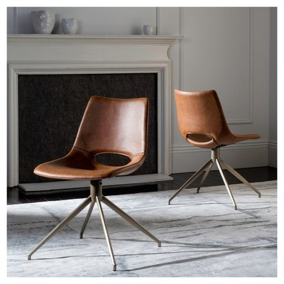 Set Of 2 Danube Midcentury Modern Leather Swivel Dining Chair   Safavieh :  Target