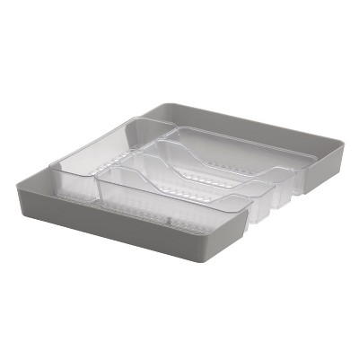 "10""x13"" Hexa 5-Divider Expandable Silverware Tray (Expands up to 16.75"") Clear - Spectrum Diversified"