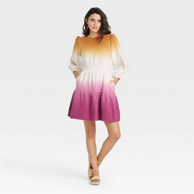 Women's Tie-Dye Long Sleeve Tiered Dress - Universal Thread™
