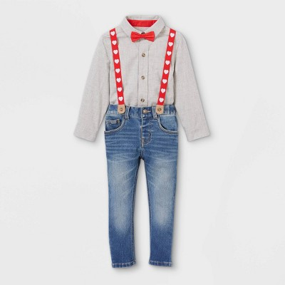 Toddler Boys' Valentine's Day Denim Suspender Set with Woven Long Sleeve Shirt and Bowtie - Cat & Jack™ Light Gray/Blue