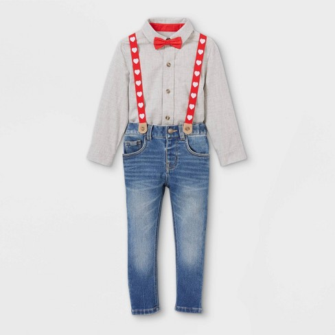 Toddler Boys' Valentine's Day Denim Suspender Set with Woven Long Sleeve Shirt and Bowtie - Cat & Jack™ Light Gray/Blue - image 1 of 2