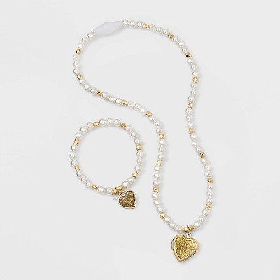 Toddler Girls' Heart Beaded Bracelet and Necklace Set - Cat & Jack™ Gold