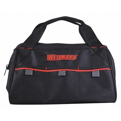 "WESTWARD 53JW42 Tool Bag,General Purpose,3 Pockets, Nylon, 3 Pockets, Black, 8"""