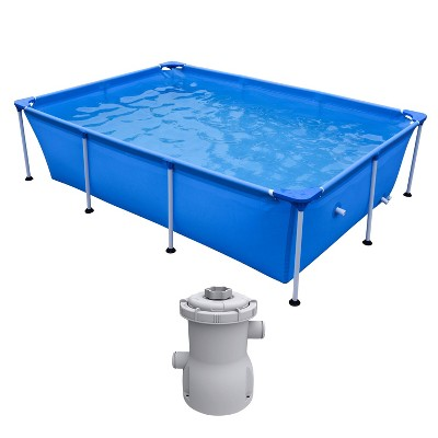 JLeisure Above Ground Rectangular Steel Frame Swimming Pool, 8.5 x 6 Ft Bundle w/ JLeisure Clean Plus 300 GPH Above Ground Pool Filter Cartridge Pump