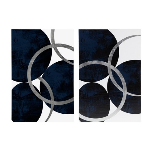 "Celestial Orbit Gel Coated and Foil Canvas 2pc Navy 36""x24"" - image 1 of 6"