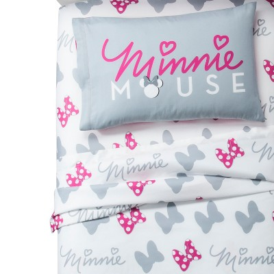 Mickey Mouse & Friends Twin Minnie Mouse Sheet Set Gray/White