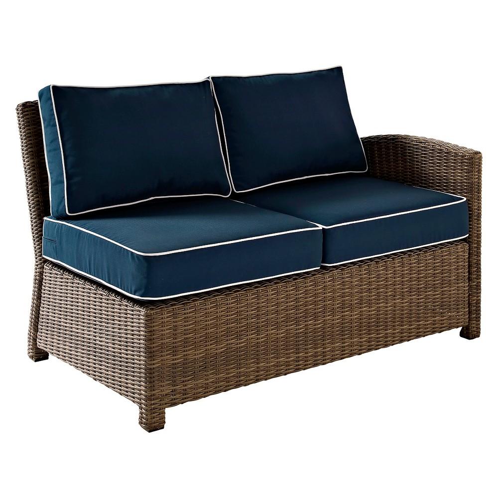 Crosley Bradenton Outdoor Wicker Sectional Right Corner Loveseat w/Navy (Blue) Cushions