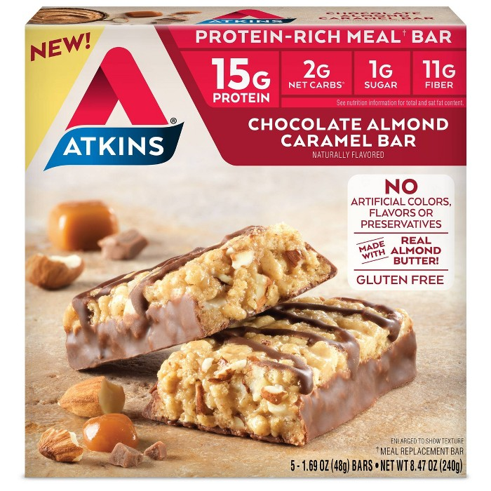 Atkins Almond Butter Meal Bars - Chocolate Almond Caramel - 5ct - image 1 of 2