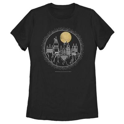 Women's Harry Potter Hogwarts Line Art Moonrise T-Shirt