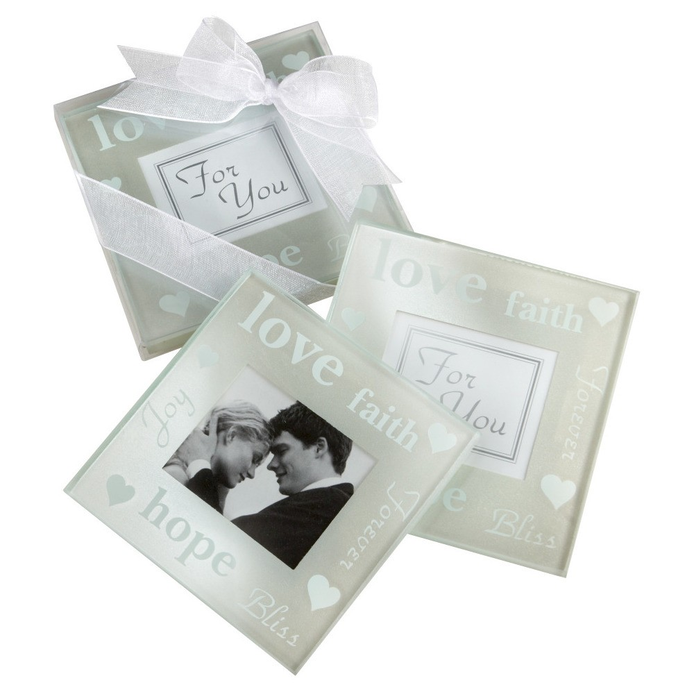 Image of 12ct Good Wishes Pearlized Photo Coasters, Medium Clear