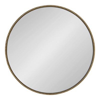 "24"" x 24"" Gwendolyn Round Beaded Accent Wall Mirror Gold - Kate and Laurel"