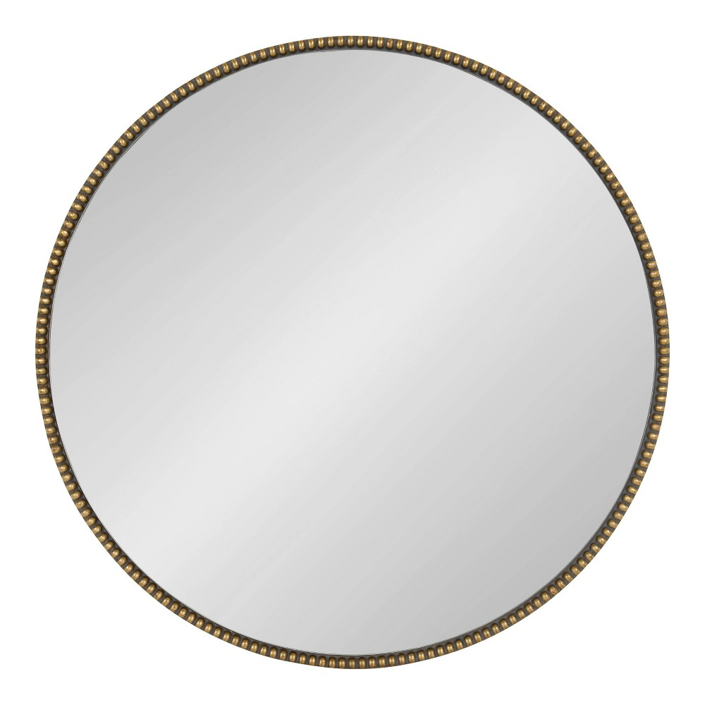"""Image of """"23.6"""""""" Gwendolyn Round Beaded Accent Wall Mirror Gold -Kate and Laurel"""""""