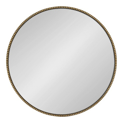 "24"" x 24"" Gwendolyn Round Beaded Accent Wall Mirror Gold - Kate and Laurel - image 1 of 4"