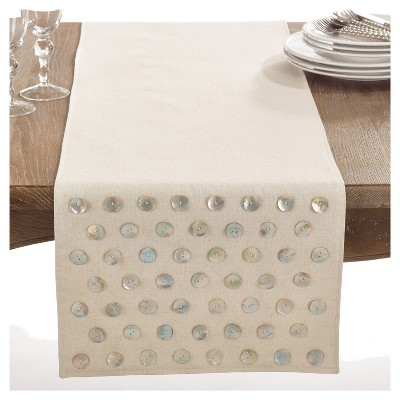 Light Brown Star Spangled Mother of Pearl Design Table Runner (16 x72 )- Saro Lifestyle®