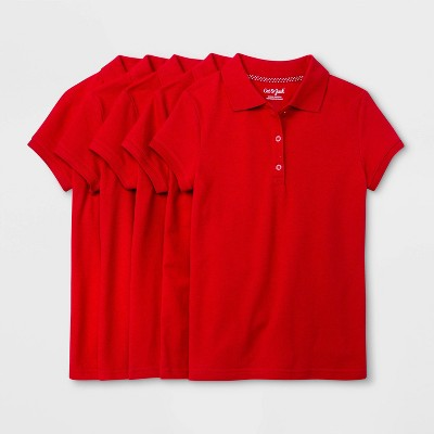 Girls' 5pk Short Sleeve Stretch Pique Uniform Polo Shirt - Cat & Jack™ Red