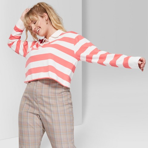 ede829577172c Women s Plus Size Striped Long Sleeve Cropped Rugby Polo Shirt - Wild Fable™  Melon Cream 3X   Target