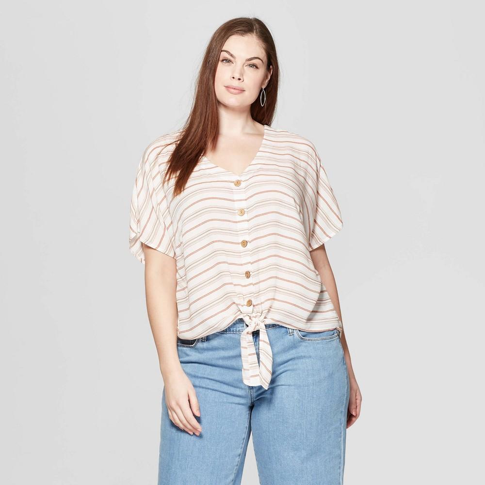 Women's Plus Size Striped Short Sleeve V-Neck Tie Front Top - Universal Thread White/Orange 2X