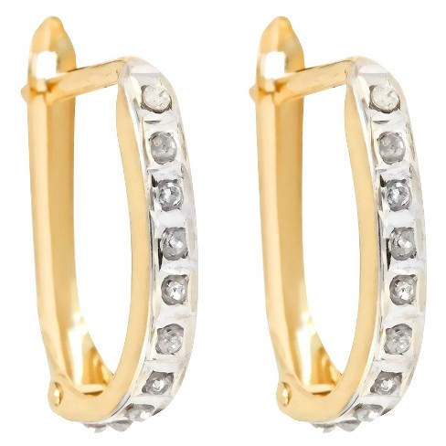 Oval Sterling Silver Earrings with Diamond Accents - Yellow - image 1 of 1