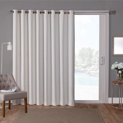 Sateen Blackout Solid Grommet Top Wide Patio Curtain Panel Vanilla 100x84 - Exclusive Home