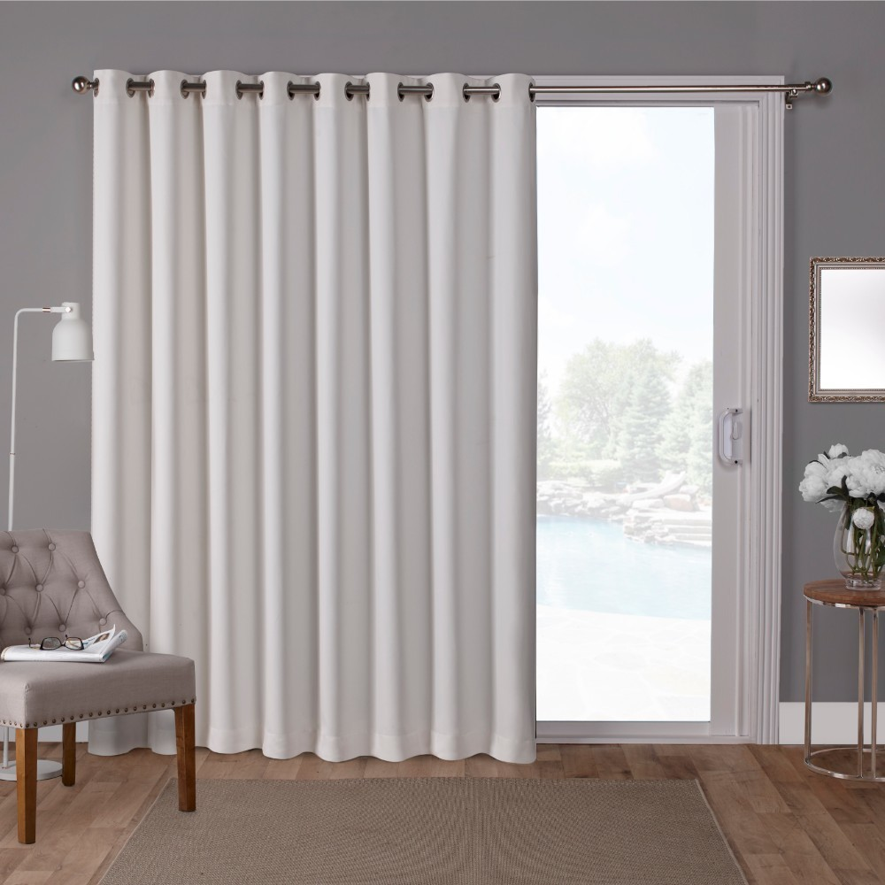 "Image of ""100""""x84"""" Sateen Blackout Solid Grommet Top Extra Wide Curtain Panel White - Exclusive Home"""