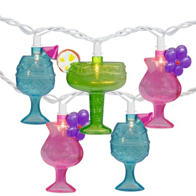 Northlight 10-Count Mixed Cocktail Drink Summer Patio Light Set - 7.5 ft White Wire