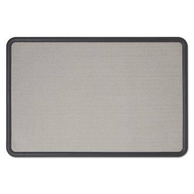 Quartet Contour Fabric Bulletin Board 36 x 24 Gray Surface Black Plastic Frame 7693G