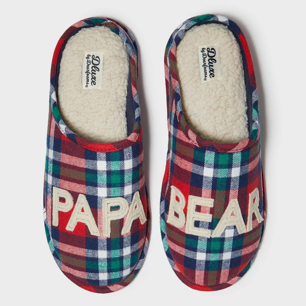 Image of Men's dluxe by dearfoams Papa Bear Slide Slippers - Red S(7-8), Size: Small (7-8), Red Green Blue