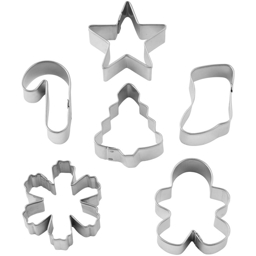 Image of Wilton 6pk Plastic Mini Cookie Cutters, Silver