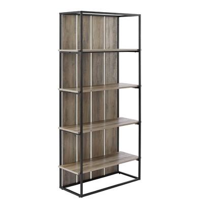 "64"" Porter Farmhouse Wood Plank Bookcase with 4 Shelves - Saracina Home"