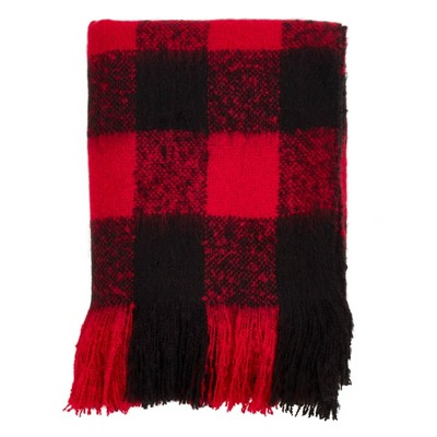 Faux Mohair Buffalo Plaid Throw Blanket - Saro Lifestyle