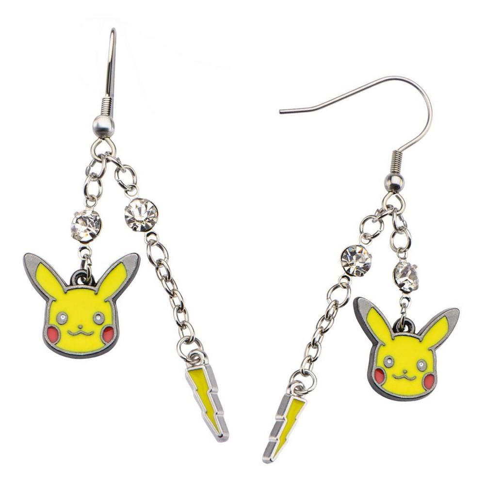 Women's Pokémon Pikachu Lightning Bolt Stainless Steel Dangle Earrings, Yellow